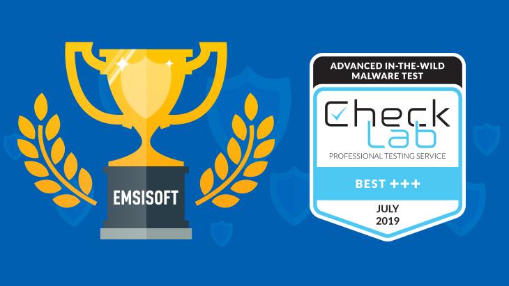 Emsisoft CheckLab Award July 2019