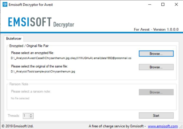 Decodificador Emsisoft para Avest