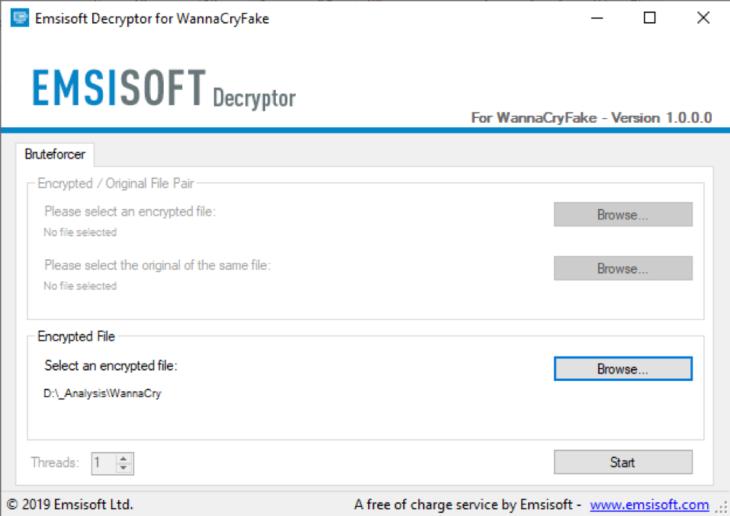 Emsisoft WannaCryFake Decryptor