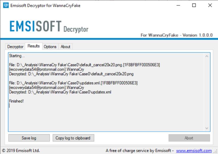 Successful WannaCryFake Decryption