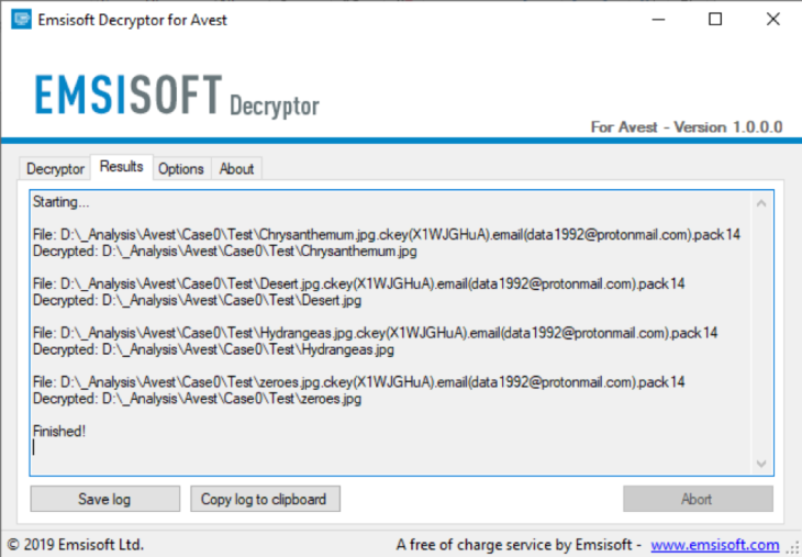 Successful decryption of files locked by Avest