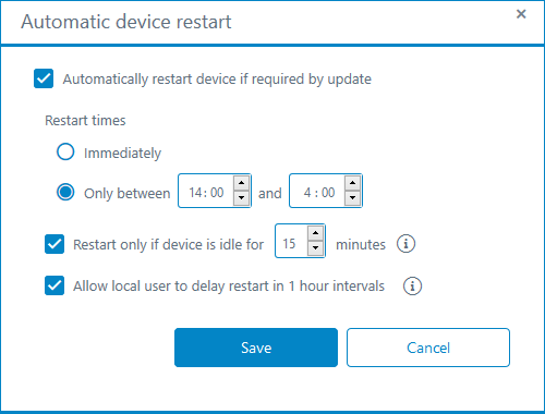 New device restart scheduler