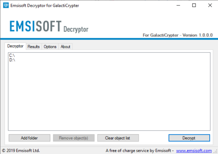 Emsisoft Decryptor for GalactiCrypter