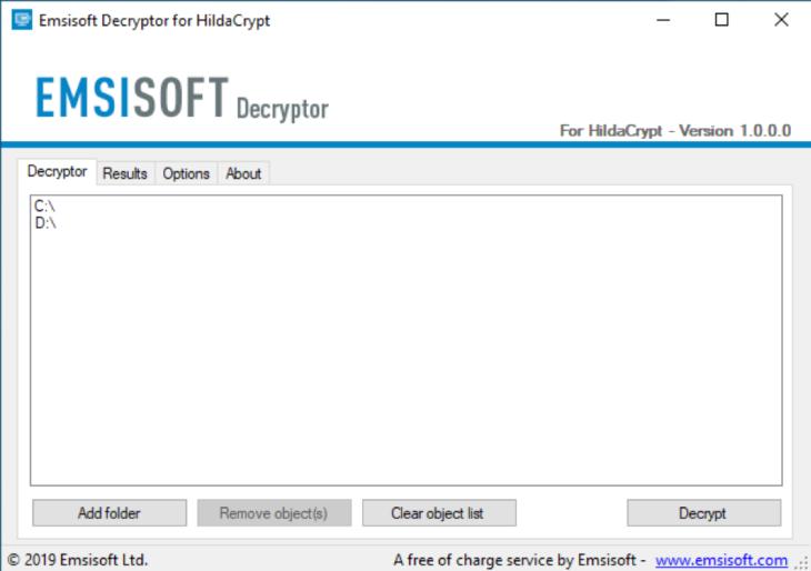 Emsisoft Decryptor for HildaCrypt