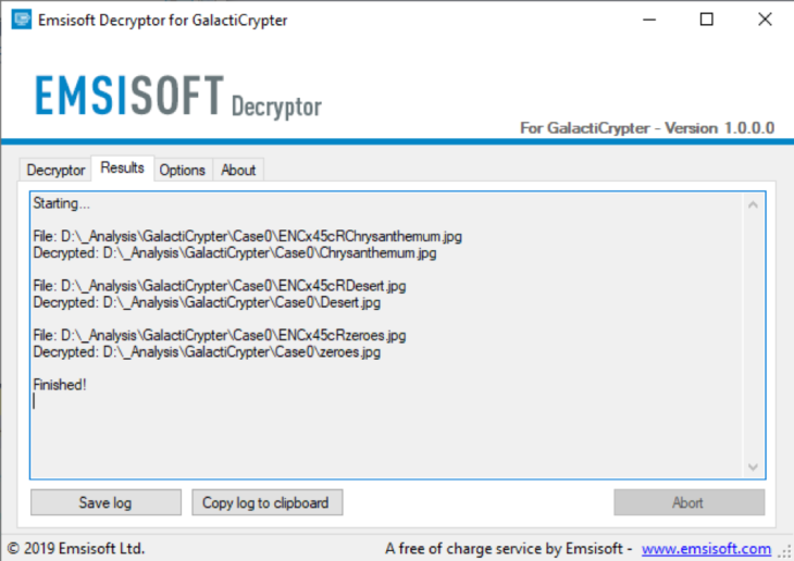 Successful decryption of GalactiCrypter