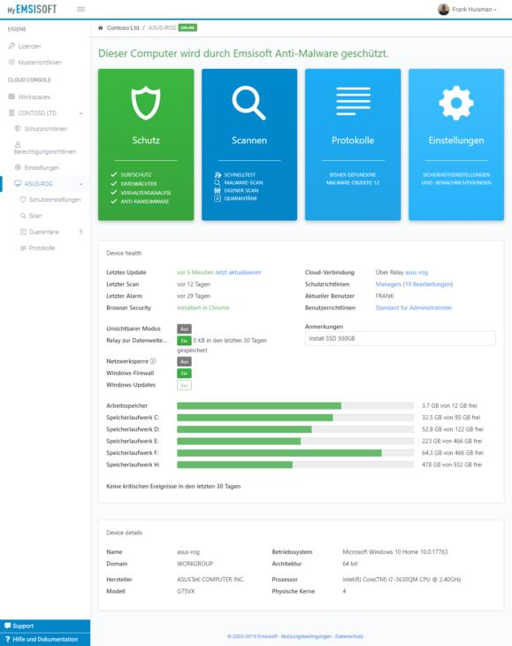 Die neue Gerätedetailansicht in Emsisoft Cloud Console