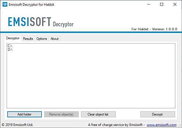 Hakbit decryptor by Emsisoft