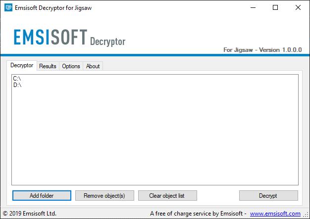 Jigsaw decryptor by Emsisoft