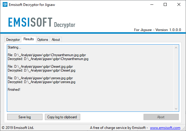 Successful decryption of Jigsaw ransomware