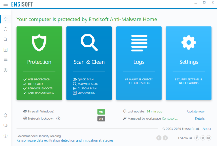 The new 'Web Protection' layer in Emsisoft