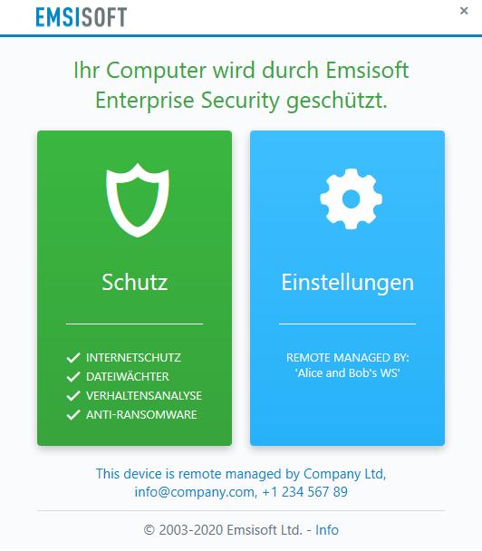 """Minimalistische Benutzeroberfläche im Verwaltungsmodus """"Nur extern"""""""