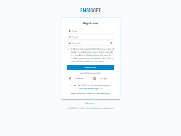 Jetzt für kostenloses Testkonto registrieren, falls Sie und Ihre Familie noch keinen Schutz von Emsisoft haben