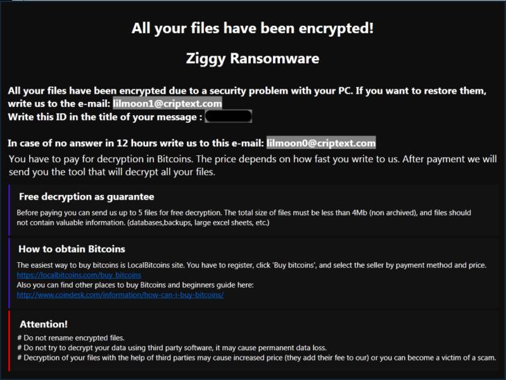 Ziggy ransom note.